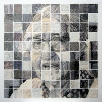 'Grandma Deconstructed'. H100 x W100. Thread sewn into dress netting stretched over canvas