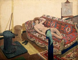 Reclining Model in the Studio, c. 1920-2. Tempera on board