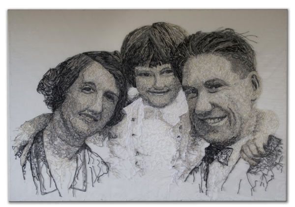 'Mum with her Parents'. H130 x W90cms. Thread sewn into dress netting stretched over canvas