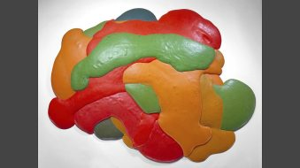 Night Sherbert A, 1968. Dayglo pigment, phosphorescence and poured polyurethane foam