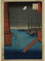 Utagawa Hiroshige: No 4 Yeitai bridge and Tsukuda island Woodblock print© Manchester City Galleries