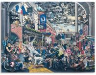 PLATE 3, PROTEST AND PERFORMANCE. Varnished plasticine on board, 183 by 245cm.; 72 by 96 1/2 in. 2014.