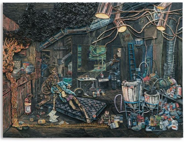 PLATE 7, THE CRACK DEN. Varnished plasticine on board, 183 by 245cm.; 72 by 96 1/2 in. 2014.
