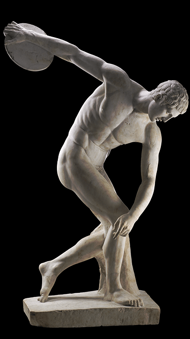 Marble statue of a discus-thrower (discobolus) by Myron. Roman copy of a bronze Greek original of the 5th century BC.