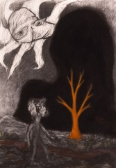 Orange Tree in Large Black Shadow, 1990, charcoal on paper, 99.7 x 69.9 cm