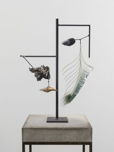 Mussel Shell (detail), 2014 Peacock feather, seashell, found steel object, concrete, and brass
