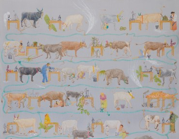 Mooing Here and Now, 2014 (detail). Acrylic on canvas, 190 x 150 cm, 74 3/4 x 59 1/8 in