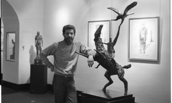 Robert Clatworthy in 1986 with one of his Horseman and Eagle sculptures. Photograph: Jane Bown
