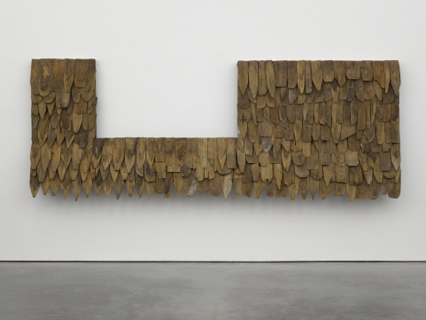 Tiki teak, 2014. Wood and roofing paper. Photo: George Darrell