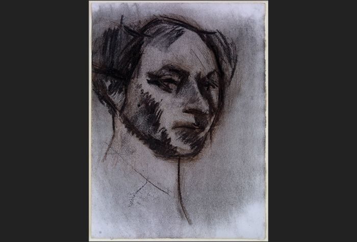 David Bomberg. Self Portrait. 1932. Charcoal and brown chalk on paper. 38.7 x 28 cm. © The Estate of David Bomberg. Schlee Collection, Southampton