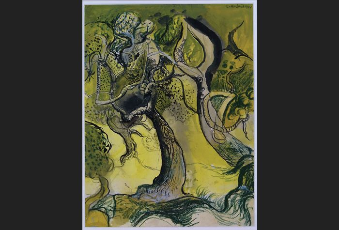 Graham Sutherland. Fruit Trees in the Garden at Trottiscliffe. 1944. Watercolour, gouache, pen and black ink, coloured chalk and pencil on paper. 36.5 x 27.5 cm. © Estate of Graham Sutherland. Schlee Collection, Southampton.
