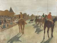 Horses before the Stands, Hilaire-Germain-Edgar Degas. Oil on paper, laid down on canvas, 1866-8. (Picture: Paris, Musée d'Orsay)