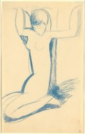 Kneeling Blue Caryatid, c1911. Blue crayon, 43 x 26.5 cm
