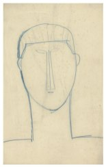 Male Head and Shoulders, c1911. Blue crayon, 42.8 x 26.7 cm