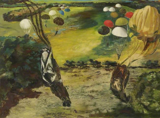 Parachute Jump near Tatton Park, 1943. Oil on hardboard, 61.6 x 84.8 cm. Lakeland Arts Trust