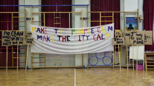 Rehearsal at Marion Richardson School, London, April 2014, cotton, iron on, cardboard and wood © Peter Liversidge