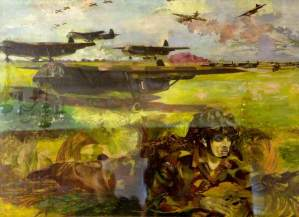 Exercise 'Mush': Gliders Land on a 'Captured' Airfield and Paratroops Surround the Field, Waiting for the Unloading of the Gliders, 1944. Oil on panel, 57.1 x 76.8 cm. IWM (Imperial War Museums)