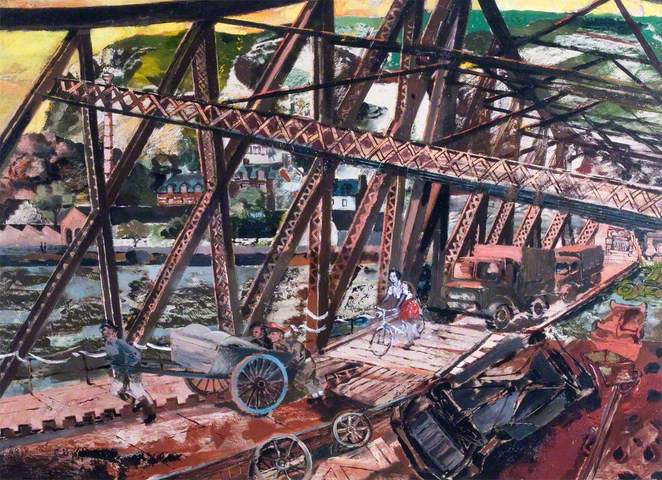 The Break through, France: 'Marmalade Bridge', A Railway Bridge Crossing the River Seine at Rouen, 1944. Oil on panel, 55.8 x 75.5 cm. IWM (Imperial War Museums)