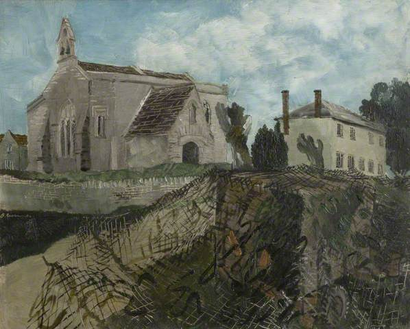 Inglesham Church and Rectory. Oil on canvas (?), 24 x 31 cm. Harris Museum & Art Gallery