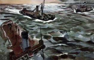 Seacombe Ferry in Wartime, 1941. Oil on board, 52.2 x 75 cm. National Museums Liverpool