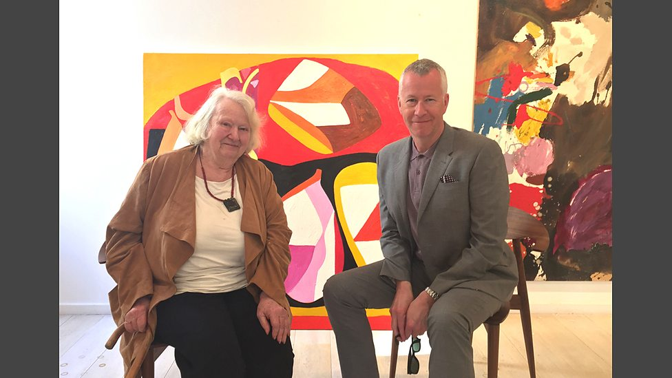 Gillian Ayres and John Wilson (BBC) at the Gallery