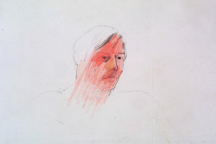David Hockney, Portrait of Mo, 1975, pencil and crayon on paper, 29.2 x 35 cm, © David Hockney