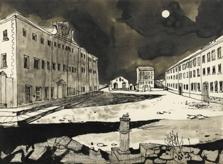 Deserted Garrison, John Minton, pen and ink, ink wash, charcoal and coloured chalks, 1947 © Royal College of Art