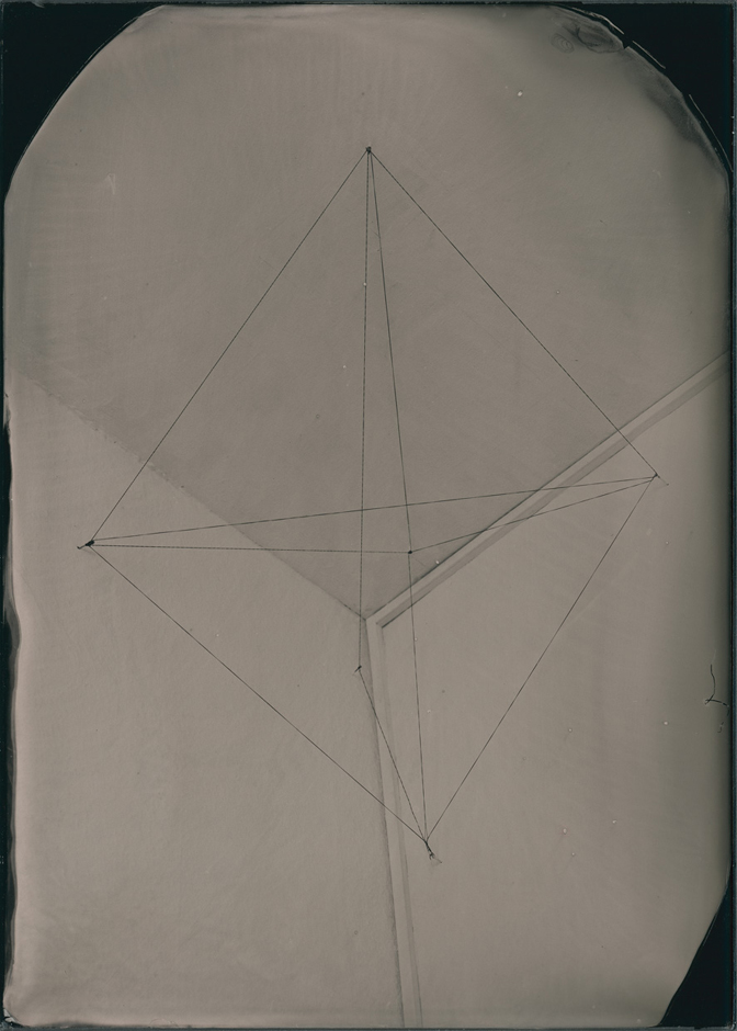 Cipher, 2015. Ambrotype, 1 of 3 plates made 17.5 x 12.5 cm (plate size); 36.3 x 30.3 cm (framed size)
