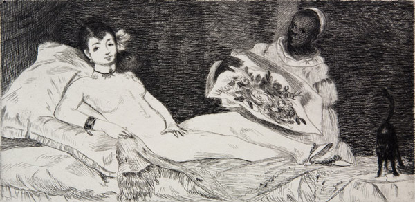 Edouard Manet, Olympia, 1867, Etching and aquatint on paper, Pallant House Gallery
