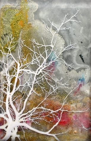 White Tree, 2015. Acrylic, pigment and resin on acrylic, 53 x 36 cm