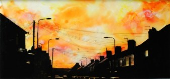 Grangetown Sunset, 2015. Ink, pigment and resin on glass, 34 x 70 cm