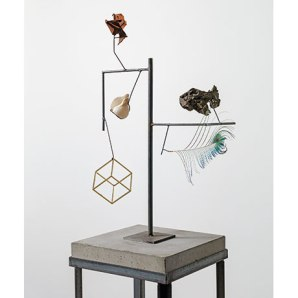 Carol Bove: 'Heraclitus' (detail), 2014. Seashell, feather, found objects, steel and concrete. Courtesy of the artist and Maccarone, New York and David Zwirner, New York / London