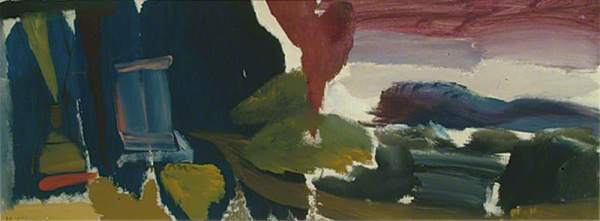 Ivon Hitchens: Evening Sky over Hills, 1957. Oil on canvas, 40.6 x 109.2 cm. Towner