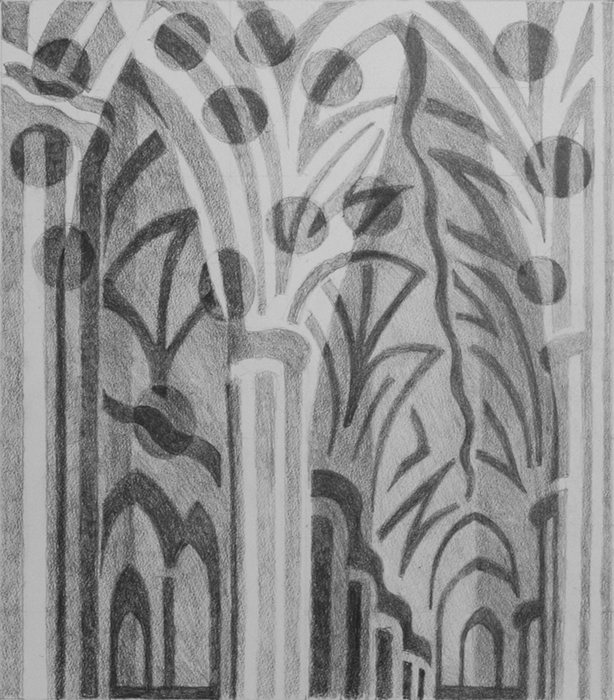 Exeter cathedral interior. Pencil on paper. 50x45cm, 2014