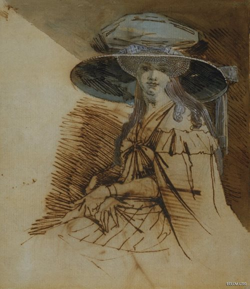 Mrs Fuseli in a Large Hat. Ink & watercolour & bodycolour on paper