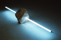 Tatsuo Kawaguchi: Stone and Light no.4, 1989. Stone and fluorescent lamp, 237 x 50 x 36 cm (93 1/4 x 19 3/4 x 14 1/8 in.)