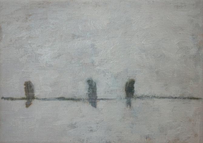 Birds No.7, 2015, mixed media on canvas, 12 x 18 cm