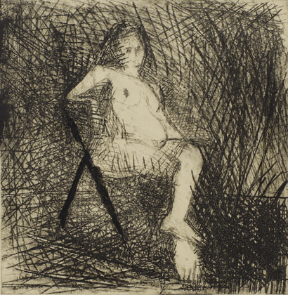 Frank Auerbach, Nude Seated on a Folding Chair, 1954, Pallant House Gallery