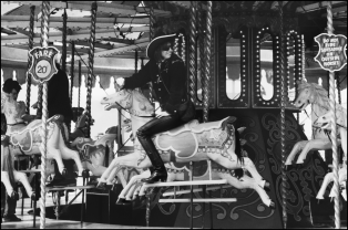 Chrissie Hynde on a carousel