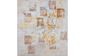 Iris No.3, 1995-2015, mixed media on canvas, diptych, 49 x 43 cm