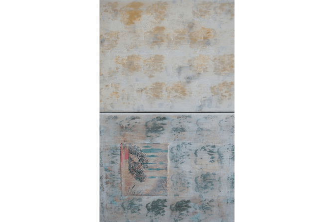 Untitled No.1, 2015, mixed media on canvas, diptych, 48 x 30 cm