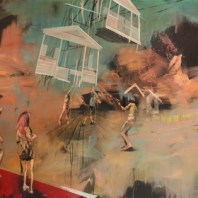 A House Escapes Into The Sky, But Loses Its Form, 2015, 91 cm x 127 cm. Mixed media on canvas