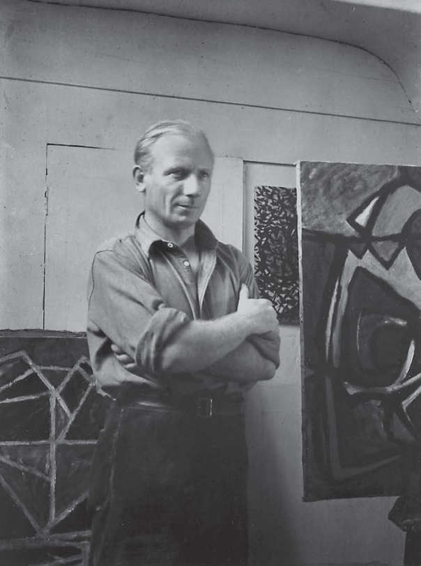 William Gear in his studio, 13 Quai des Grands Augustins, 1949