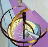 AERIAL VIEW SPIRAL STAIRCASE, 1980, oil on canvas, 177.5 × 177.5 cm
