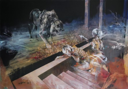 "Two People Feed a Lion. Mixed media on aluminium panel, 28"" x 40"" (71cm x 102cm), 2015"