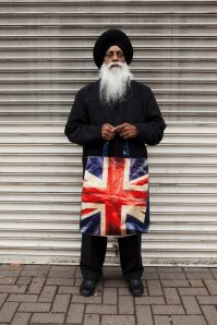Harbhajan Singh with his Union Jack bag, 2011