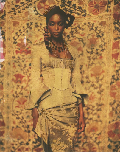 Naomi, Paris, 1997. Original Polaroid 891 Transparent Film with applied gold leaf and laminate, 9 1/2 x 7 1/2 in.