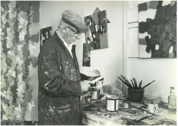 William Gear working in studio at Towner Art Gallery, September 1962