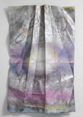 "From ""The Toxic Sublime"" series, spray paint, aeronautical grade aluminium tape on canvas, bonded to torqued aluminium, 2015"