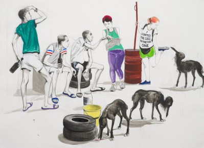 Untitled (Tourists talking to Itinerants), 2015. Pencil, acrylic and ink on paper, mounted on linen, 84 x 114 cm page size, 96.5 x 126.5 cm framed